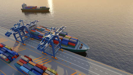Port cranes loading containers on a cargo ship at the port. Elevated view. Digital 3D render. Archivio Fotografico