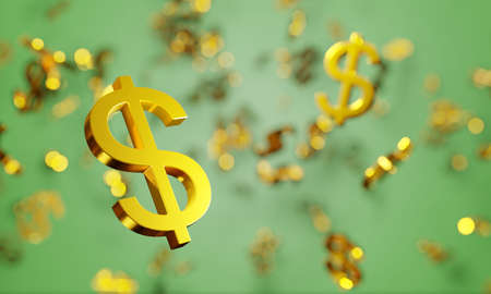 Gambling earnings background. Lucky jackpot winner, golden dollar signs rain. Digital 3D render.