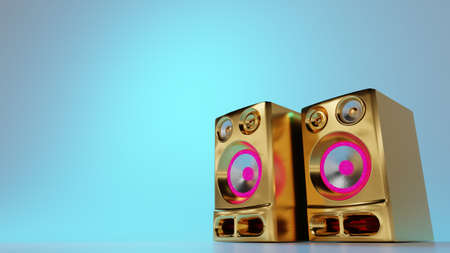 Golden bling loudspeakers on light blue background. Pop music, party, hip hop culture. Digital 3D render.