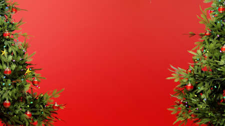 Christmas season postcard template with red background and trees on the sides. Digital 3D render.