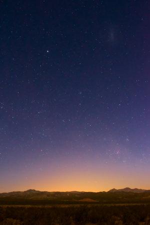 Starry twilight sky over the desert near Uspallata, Mendoza, Argentina.