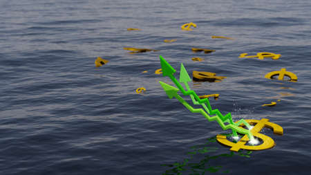 Water futures investment earnings, soaring prices. Dollar signs floating on a body of water with green arrows. Digital 3D render.