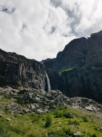 panoramic view of high waterfall at the end of trekking Stock fotó