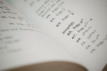 Een nuttige woord in een college algebra boek. Stockfoto - 2938247