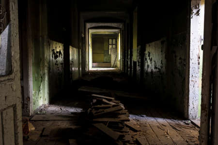 sprawled: Abandoned building hallway Stock Photo