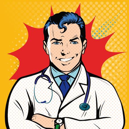 Smile Doctor therapist medicine and health. Profession white coat stethoscope pop art retro style