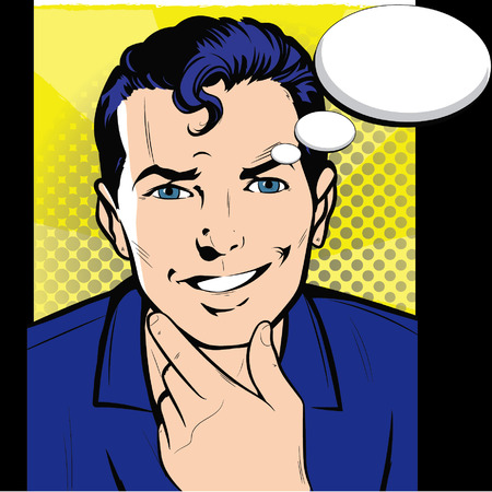 to ponder: Business Man Hold Chin Businessman Think, Ponder New Idea Chat Bubble Pop Art Colorful Retro Style Vector Illustration Illustration