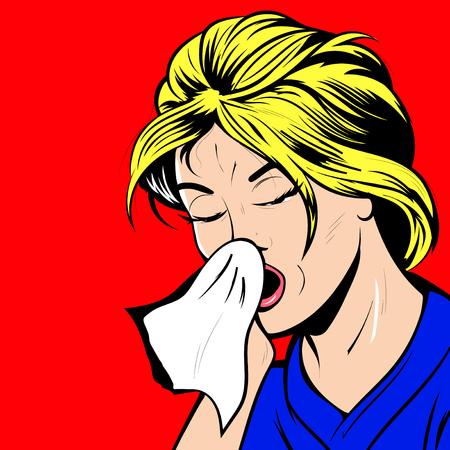 Illustration vectorielle Pop Art - jeune femme a une allergie au nez, grippe éternue nez