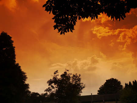 Fiery summer sunset in the Lombard plain