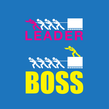 Vector of leader vs boss, leadership and business concept. Иллюстрация