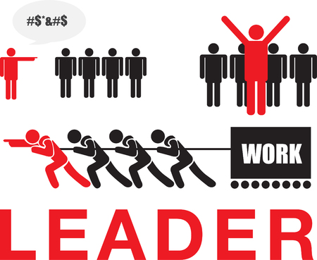 Vector of leader vs boss, leadership and business concept.