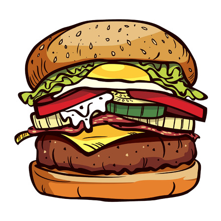 sesame seeds: delicious burger Illustration
