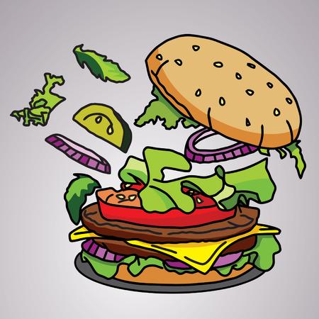 Burger  fast food FC  イラスト・ベクター素材
