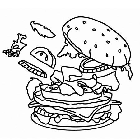 unhealthy diet: Burger  fast food BW Illustration