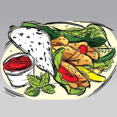 mayonnaise: Hand drawn vector illustration of a chicken kebab with ketchup, mayonnaise and a chicken kebab wrap on top. FC Illustration