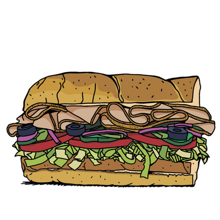 sub: Sub Sandwich with lettuce,tomato,meat, and cheese FC Illustration
