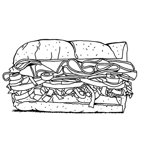 wholemeal: Sub Sandwich with lettuce,tomato,meat,and cheese BW