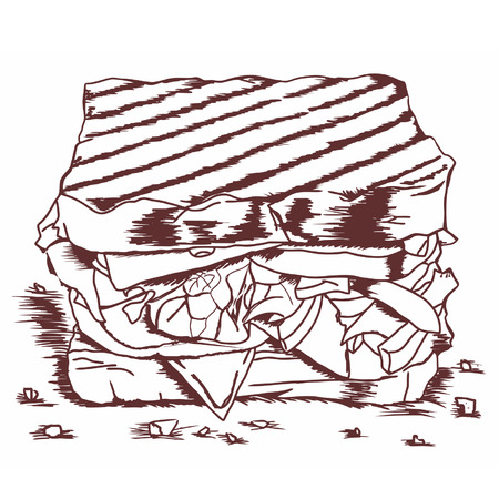 wholemeal: Hand drawing sketch Sandwich with lettuce,tomato,meat,and cheese BW Illustration