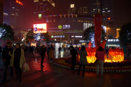 irradiation: Guanyin bridge Plaza-beautiful night in Chongqing and recreational pedestrian