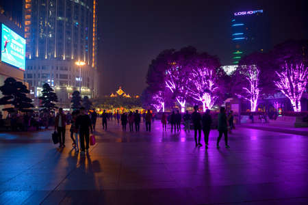 irradiation: Chongqing Guanyin bridge Plaza - beautiful decorative lighting Editorial