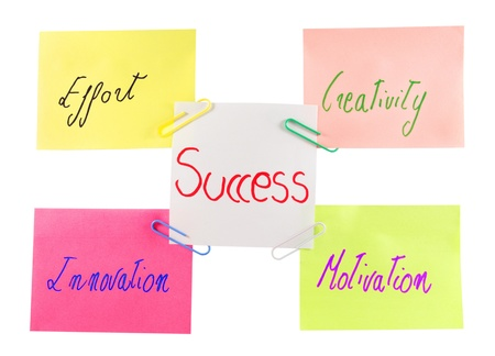 post it with motivational words effort,innovation,motivation,creativity,succes  Concept for work Stock Photo