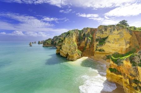 Idyllic beach landscape at Lagos, Algarve,  Portugal