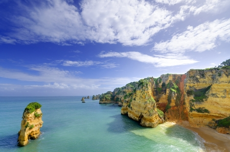 Idyllic beach landscape at Lagos, Algarve,  Portugal Stock Photo - 19354962