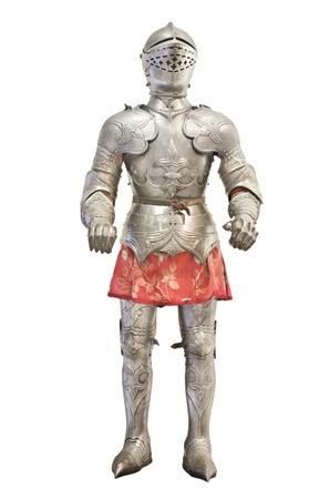 Medieval knight armour over white isolated background photo