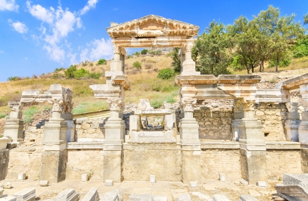 Fountain of Trajan in ancient city of Ephesus, Turkey  photo