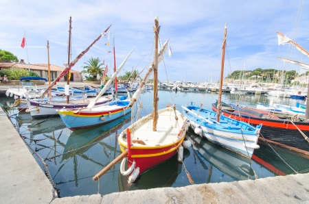 Wooden small boats in the harbour of Sanary sur Mer, in France  photo
