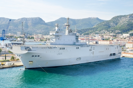 French navy warship in the mediterranean sea bay of Toulon, France  Editorial
