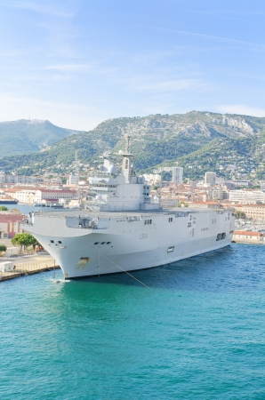 toulon: French navy warship in the mediterranean sea bay of Toulon, France  Editorial