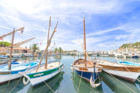 Wooden small boats in the harbour of Sanary sur Mer, in France. photo