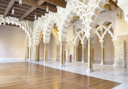 mudejar: Arabic arches at Aljaferia Palace in Zaragoza, Spain