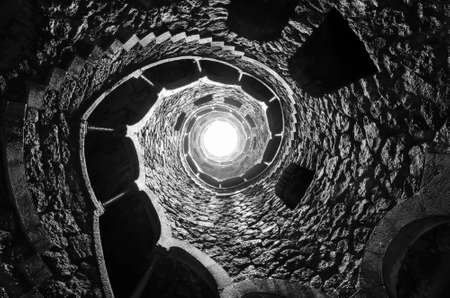 quinta: Masonic initiation well in Quinta da Regaleira, Sintra, Portugal.