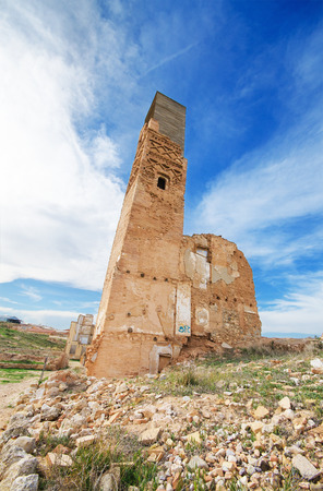 bombed city: Ruins of an old building destroyed during the spanish civil war in Belchite, Saragossa, Spain.