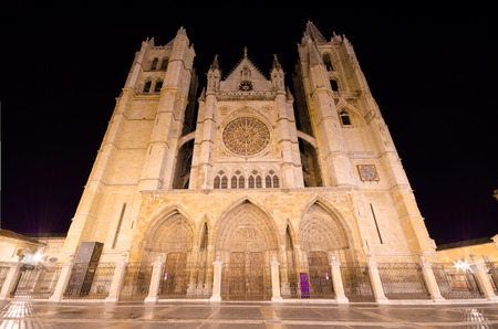 stone of destiny: Leon cathedral at night, Leon, Spain.