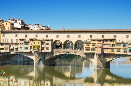 ponte vechio: Scenic view of Famous landmark Ponte Vechio in Firence, Italy. Stock Photo