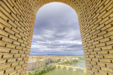 zaragoza: Zaragoza cityscape aerial view Stock Photo