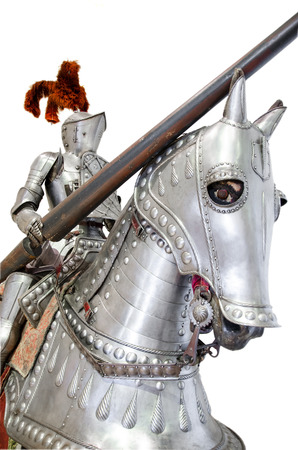 chain armour: Knight on warhorse on white isolated background