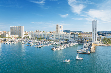 Scenic view of Toulon harbor, France. Stock Photo