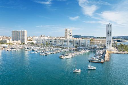 Scenic view of Toulon harbor, France. 免版税图像