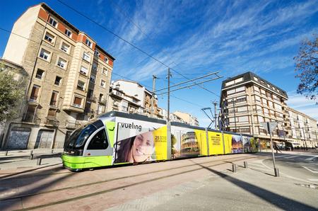 vitoria: VITORIA-GASTEIZ, SPAIN - MARCH 6: Modern Vitoria public transport on March, 8 2015. Vitoria tram was inaugurated in 2008. Editorial