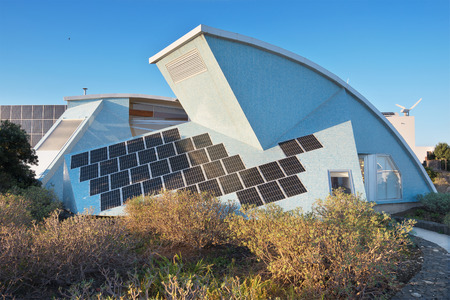 conceived: TENERIFE, SPAIN - JANUARY 3: Bioclimatic Houses  in the South of the island of Tenerife on January 3, 2016.  Has been conceived as a laboratory of different bioclimatic techniques and for the integration of renewable energy sources applied to architecture