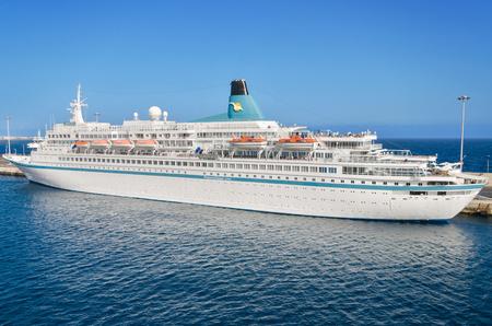 canary island: LANZAROTE, SPAIN - NOVEMBER 9: Albatros passanger cruise ship in Lanzarote harbor on November 9, 2015, Lanzarote, Canary island, Spain.