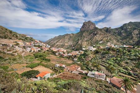 vallehermoso: Scenic view of vallehermoso town in la Gomera, Canary island, Spain. Stock Photo