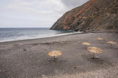 vallehermoso: Volcanic beach on a cloudy day in Vallehermoso, La Gomera, Canary islands, Spain. Stock Photo