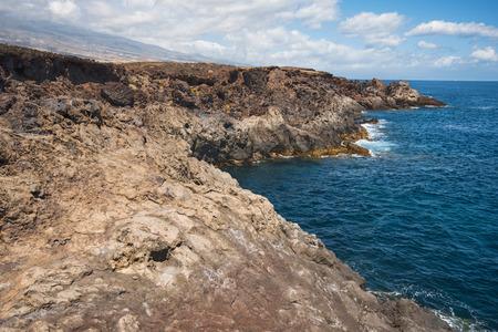 Volcanic landscape. South Tenerife coastline, Canary island, Spain.