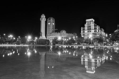 santa cruz de tenerife: Night view of Plaza de Espana, Santa Cruz de Tenerife, Canary island, Spain. Stock Photo