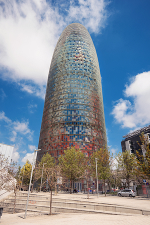 BARCELONA, SPAIN - MAY 7 : Torre Agbar on May 7, 2016 in Barcelona, Spain. 38 storey tower, built in 2005 by famous architecht Jean Nouvel. Its a famous landmark in Barcelona now is owned by Grupo Agbar
